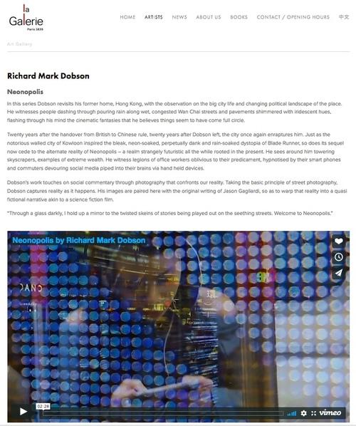 Richard Mark Dobson SOLO SHOW.  Neonopolis.  La Galerie Hong Kong